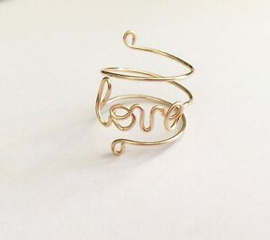 Adjustable silver, gold or rose gold plate Love wire ring, handmade wire rings