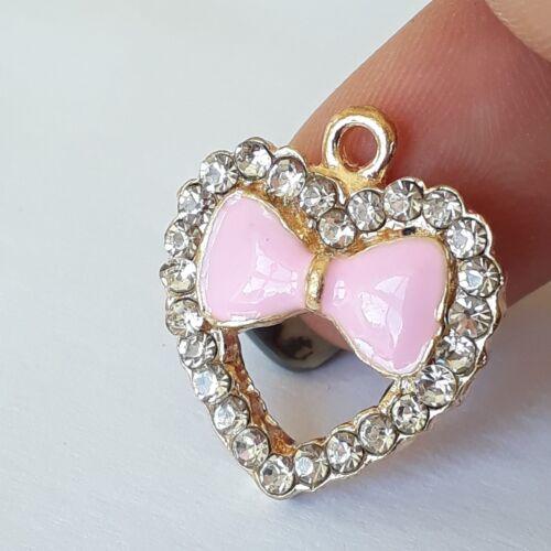1pc Pink Enamel Bow /& Rhinestone Heart Charm Gold Plated 20x18mm B65232