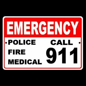 Details about Emergency Call 911 Police Fire Medical sign metal safety  warning SE001