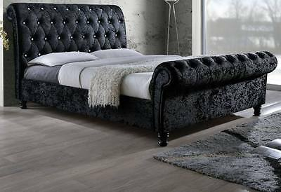 DOUBLE BORDEAUX CRUSHED VELVET JEWEL SLEIGH BED in BLACK with CRYSTAL DIAMONDS