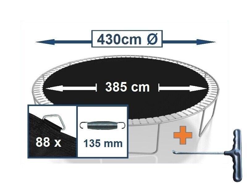 Trampolin Sprungtuch Sprungmatte Zubehör  (430 cm Ø,88 Ösen,Federn 13,5 cm)