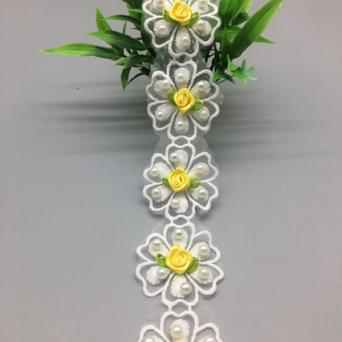 30x 3D Yellow Flower Pearl Lace Edge Trim Wedding Ribbon Applique Sewing Craft