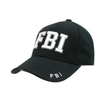 Black Baseball Cap - Army, SWAT, Security, FBI - One Size - 100% Cotton