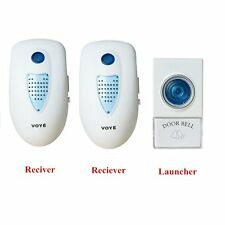 US 2 Plug-In Cordless Wireless Digital Doorbell Home Wall Door Chime Bell White