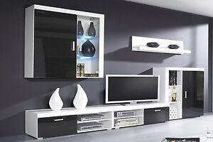 Mueble comedor salon moderno, vitrina con Leds, Negro Brillo y ...