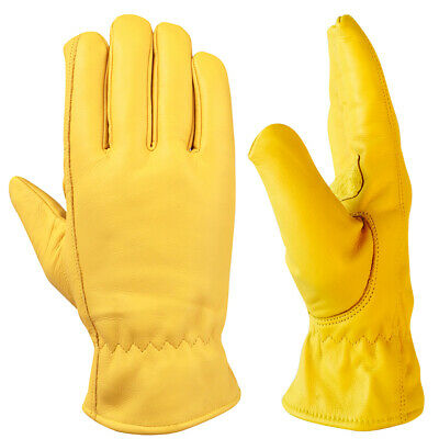 9L 12 x Cowhide Leather Fleece Lined Superior Quality Work Driving Gloves PPE