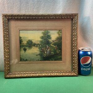 Vtg 20-30's? Country Stream Bridge Row Boat Women Dog Girl Litho Print FRAMED