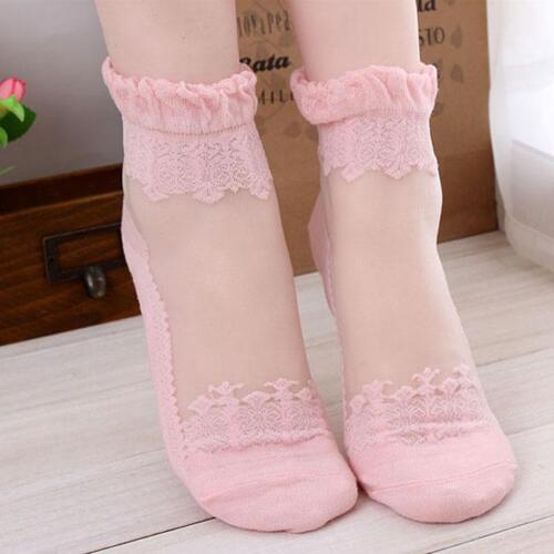 Women Lace Ruffle Ankle Sock Lady Ultrathin Sheer Elastic Princess Shoe Sock RE