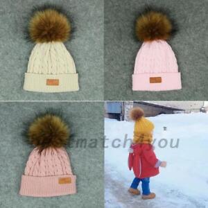 596009ed97e AU Women Winter Warm Knitted Beanie Ski Hat Kid Baby Faux Fur Bobble ...