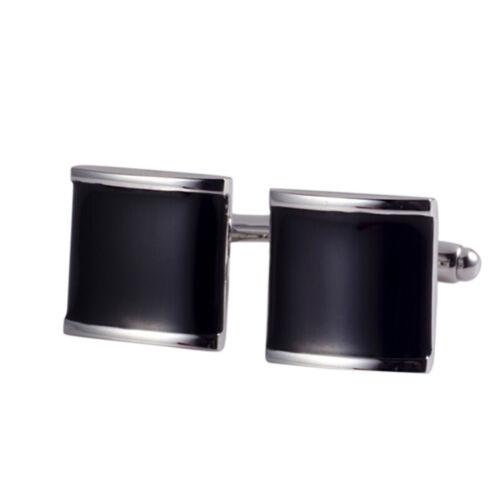 1 Par Negro Acero Inoxidable Hombres Camisa De Regalo De Boda Fiesta Puño Enlace Gemelos OJ