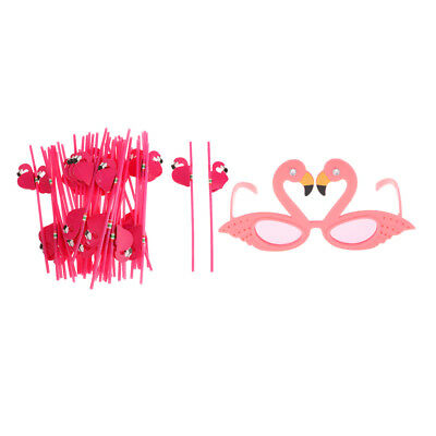 25x Plastic Straws Hawaiian Tropical Luau BBQ Party Supply Flamingo Glasses