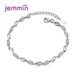 Damen-Armkette-Sterlingsilber-Zirkonia-Klar-Armschmuck-Schmuck-Armband-Kette