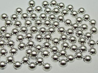 500 Metallic Silver Flatback Round Half Pearl 6mm Scrapbook Nail Art Craft