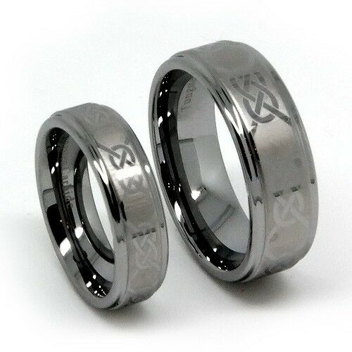 Matching Wedding Band Set Tungsten Rings, Laser Etched Celtic Design,  8MM & 5MM