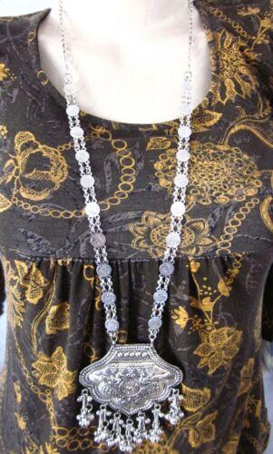 Long Boho Statement Necklace Pendant Vintage Kuchi Gypsy Hippie Fashion