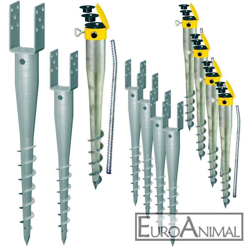 Krinner Pfostenträger Pfostenanker U-Form Pfostenschuh Eindrehhülse 70 90mm