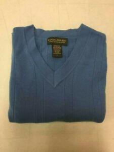 Banana Republic Men's Blue Merino Wool V- neck Sweater Size L Ships Immediately