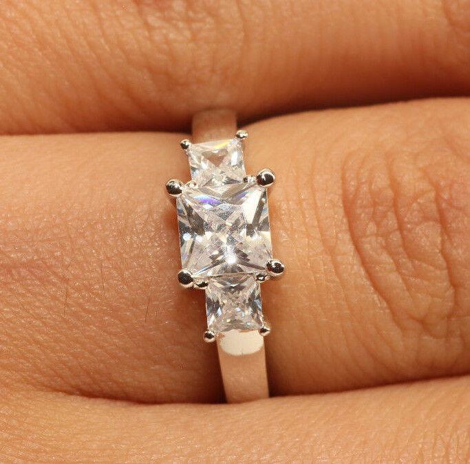 1.75Ct Three Stone Princess Cut Diamond Ring 14k White gold Finish Size 8