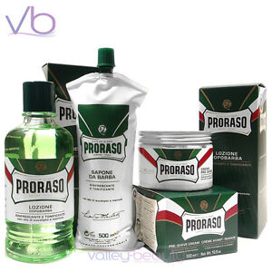 37be05e35b64 Image is loading PRORASO-Green-Barber-Set-Pre-Shave-Lotion-Shaving-