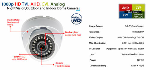 8 Channel DVR 6 x 1080p HD Business Security Surveillance Camera DVR System 2TB