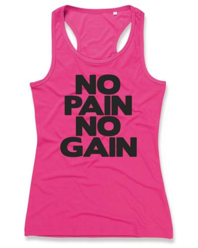 NO PAIN NO GAIN Ladies Sports Vest 8-16 Workout Gym Running Funny Printed