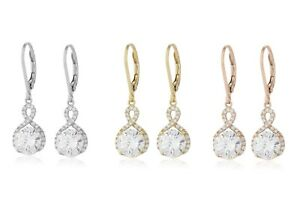 7e1b89de06109 Details about Rose Gold Infinity Crystal Drop Earrings Made with Swarovski  Crystals