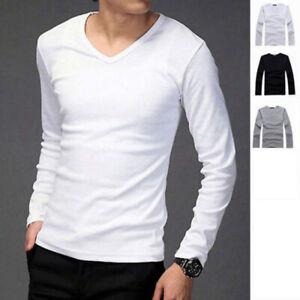 Fashion-Men-039-s-Slim-Fit-Cotton-Shirts-V-Neck-Long-Sleeve-Casual-T-Shirt-Tee-Tops