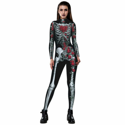 Womens Halloween Cosplay Costume Jump Suit Zentai Spandex Fancy Skeleton Catsuit