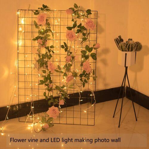 2er Pack rose künstliche Rosengirlande mit Blättern für Hochzeiten Hängedeko