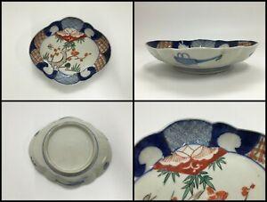 Japanese Porcelain Dish Plate Vintage Old Imari Ware Hand Paint Pine Plum F059