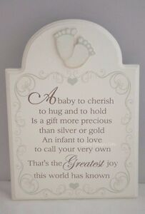 Plaque A Baby is To Cherish Christening Nursery Decor Wooden Cream 24cm F1036