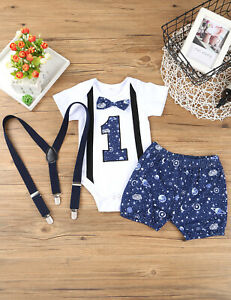 Infant Baby Boys 1st Birthday Outfit Toddler Romper Shorts Suspender Straps Set