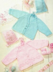 6e1484532 Baby Jackets with Heart motif Bonnet   Bootees Knitting Pattern 4ply ...