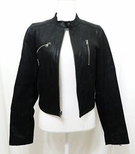 Jacket Kvinder Black Style Levi's Medium Motorcycle Moto Læder Størrelse Frakke qxtFfx