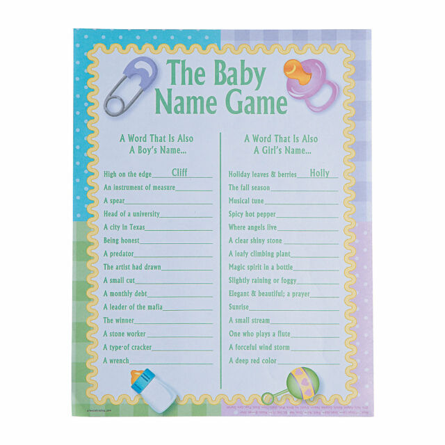 24 Baby Shower Party Game Activity Ice Breaker THE BABY NAME GAME ~ NEW