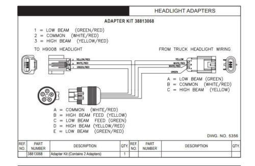 Hiniker Snowplow Headlight Adapter Kit 38813068 ford chevy dodge
