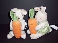 IKEA Minnen Kanin Tan Bunny Rattle Carrot Plush Stuffed Animal Baby Lovey Toy