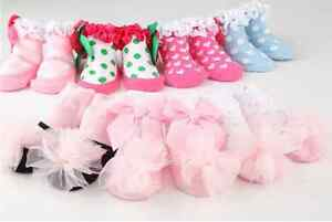 Baby-Girl-Newborn-Ribbon-Bow-amp-Ruffle-Cotton-Socks-Booties-0-12m-Cake-Smash-Bday