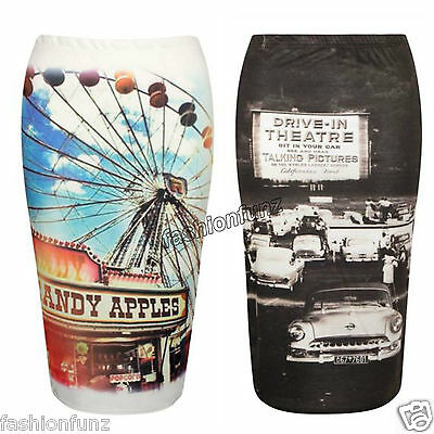 WOMENS DRIVE IN THEATRE CANDY APPLE PRINT STRETCH BODYCON MIDI PENCIL TUBE SKIRT