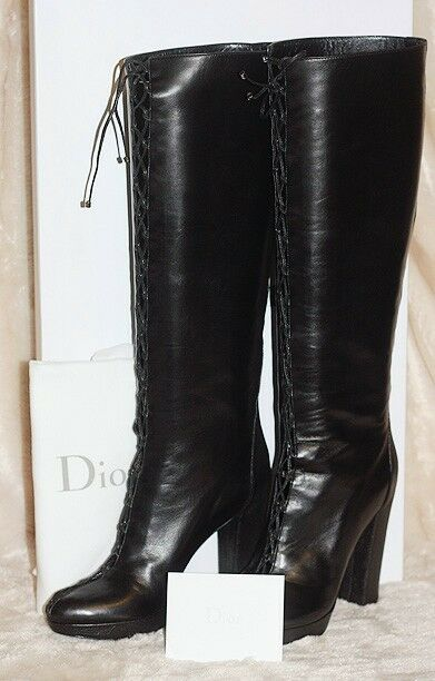 NIB DIOR BLACK LEATHER PUSHKIN LACE-UP CORSET CORSET CORSET TALL PLATFORM BOOTS 38.5 8.5  1150 32efed