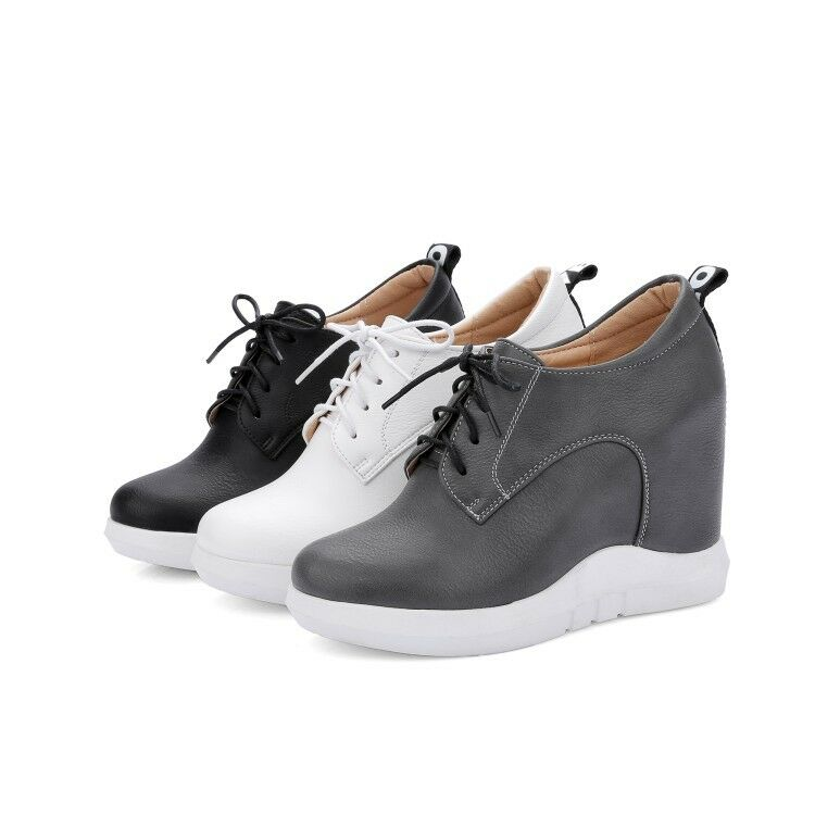 Womens Roman Round Toe Platform Hidden Heels Lace Up Ankle Boots shoes Sneakers