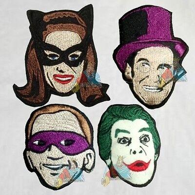 Batman Set 4 Embroidered Patches Villains 1966 Joker Penguin Catwoman Riddler