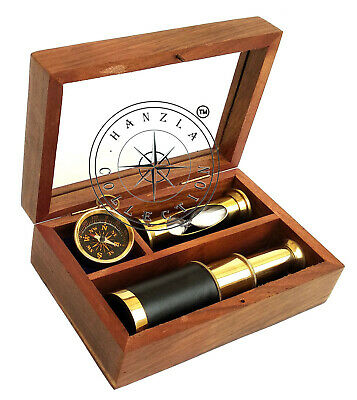 Nautical 3 Pieces Gift Set Brass Compass Sand Timer//Hourglass /& Telescope In Box