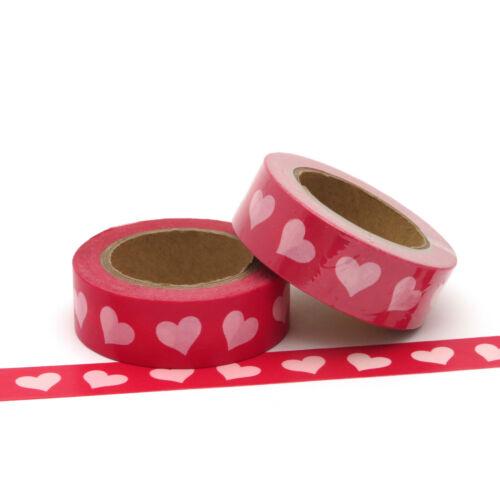 Washi Tape Red Valentine Love Hearts 15mm x 10m