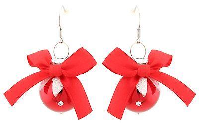 Zest Glitter Christmas Bauble Dangly Earrings for Pierced Ears Red & White