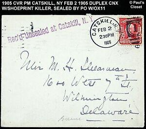 1905 Cubierta Catskill, Ny Atado A Un 2 ¢ Washington Sc 319b Pm Duplex Feb 2