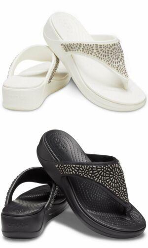 Details about  /Crocs Women/'s Monterey Diamante Wedge Flip Sandal//Shoes 206343 Size 8