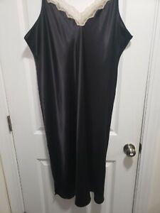 3x Shadowline Black Satin Nightgown Nwot Lace!