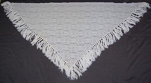 Vintage-Morsly-Triangle-Shawl-Wrap-Floral-Circle-Pattern-Fringe-White-80x40-50s