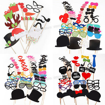 DIY Mask Photo Booth Props Mustache On A Stick Wedding Christmas Party Fun Favor
